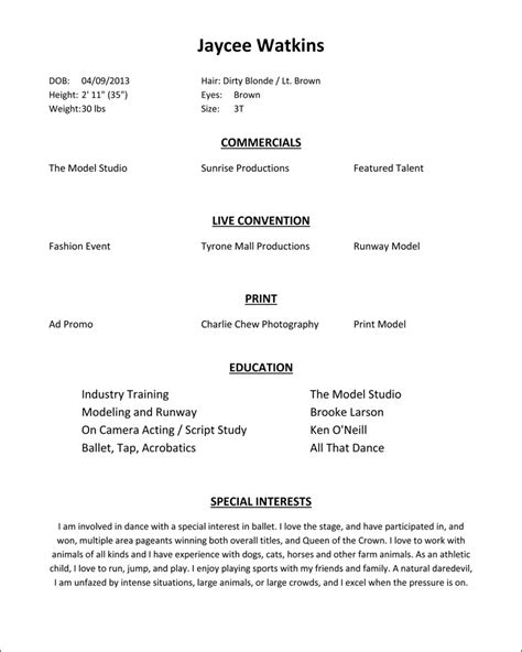 How To Make A Resume For Modeling And Acting by Modeling Resume Jaycee Watkins