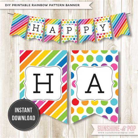 Happy Birthday Decorations Printable by Items Similar To Instant Download Rainbow Happy Birthday