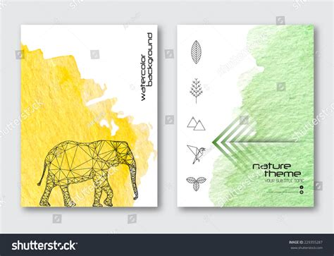 vector nature poster templates hand drawn stock vector