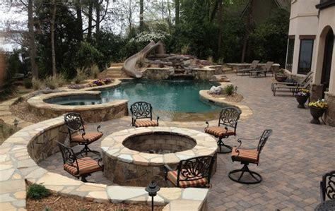 Grill In Ground Pool Patio Ideas