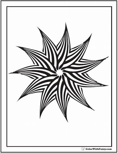 Geometric Coloring Pages Patterns Star Pinwheel Point