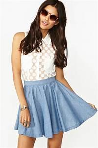 Nasty gal Chambray Skater Skirt in Blue   Lyst