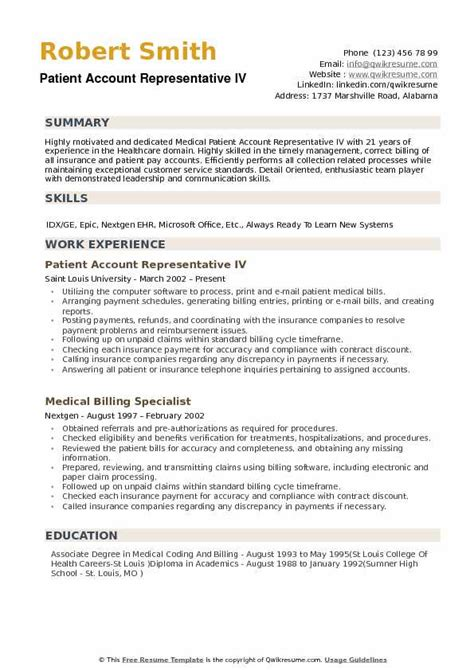 Patient Access Representative Resume by Patient Account Representative Resume Sles Qwikresume