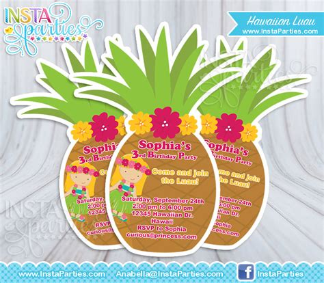 luau invitations girl hawaiian invitation pineapple