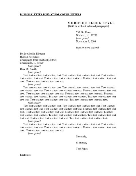 Cover Letter Format by Formal Business Cover Letter Format Exles And Forms