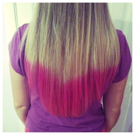 Diy Blonde Hair With Pink Dip Dye Cuteek