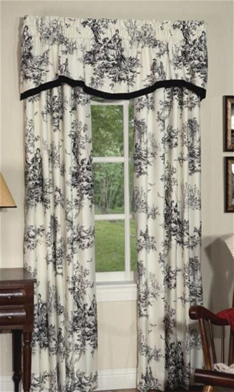 lavish black ivory classic toile lined rod pocket curtains