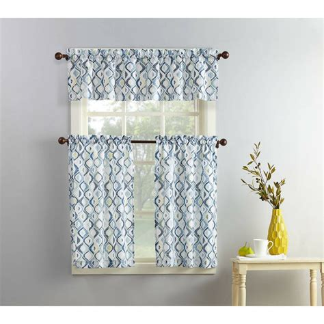 blue gray modern geometric print pc kitchen curtains set
