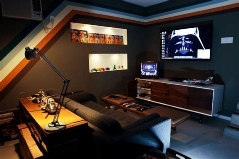 Console Gaming Area Of A Clean Garage Arcade (garcade Furniture Arrangement For Small Rectangular Living Room Curtain Design Ideas Warm Colors A Bay Window Decorating Rooms Accent Wall French Country Paint Bright Lighting Picture Of