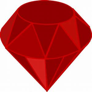 Clipart - Red ruby, no transparency, no shading, square area
