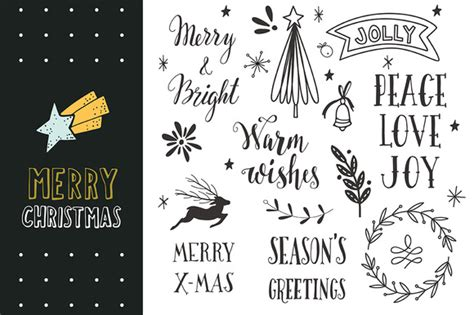 merry christmas hand lettering objects  creative market