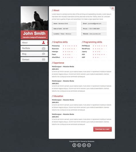 Jquery Resume Animation by 17 Best Images About More Of The Best Resume Cv Vcard Themes On Logos