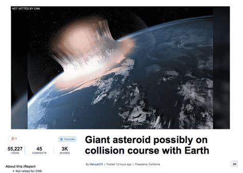 Fake Asteroid Apocalypse Article Goes Viral On Cnn's