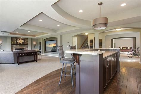 Finished Walkout Basement by Basement Great Room With Bar And Home Theater Basement