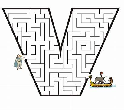 Letter Coloring Pages Maze Viking Mazes Printable