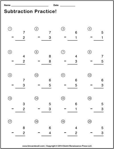 tim de vall comics printables for - Subtraction Math Problems