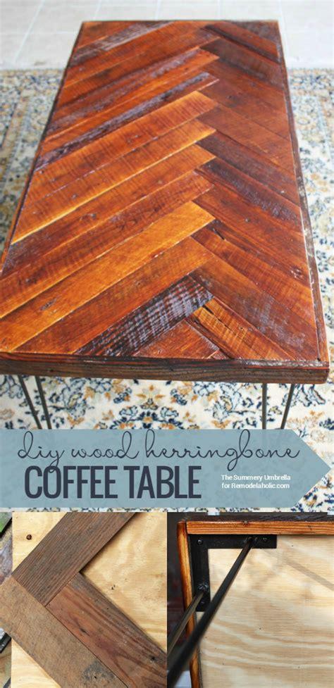 remodelaholic diy wood herringbone coffee table