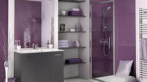Deco Salle De Bain Gris : une salle de bain en gris et violet ~ Farleysfitness.com Idées de Décoration