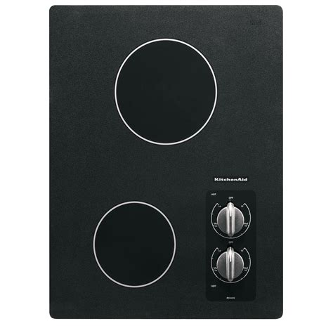 two burner cooktop kitchenaid kecc056rbl 15 quot electric 2 burner ceramic glass