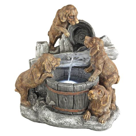 design toscano puppy pail pour stone bonded resin garden