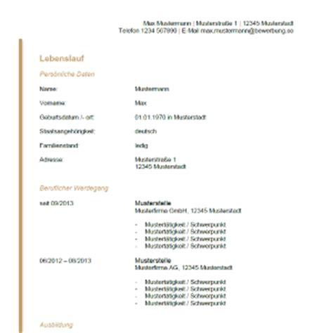 Lebenslauf Tabellarisch 2016 by Lebenslauf Muster Vorlagen F 252 R Die Bewerbung 2018