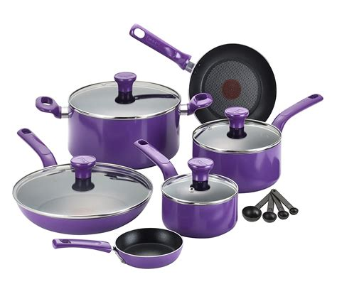 purple cookware fal nonstick piece safe oven sets excite dishwasher kitchen pfoa non stick pans pots colors walmart bright tfal