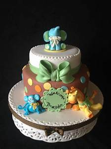 Quilted Baby Jungle Animals Cake - CakeCentral com