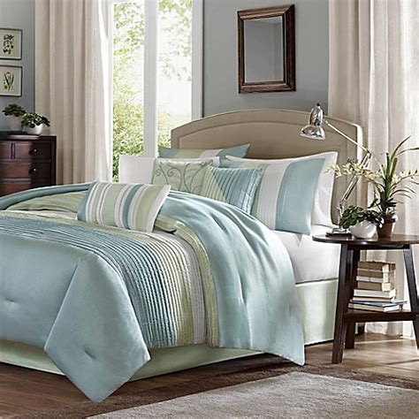 madison park amherst 7 piece comforter set in green bed