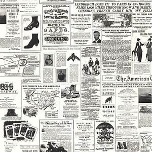 KW7620-Vintage Newspaper Print Wallpaper-Discount Wallcovering