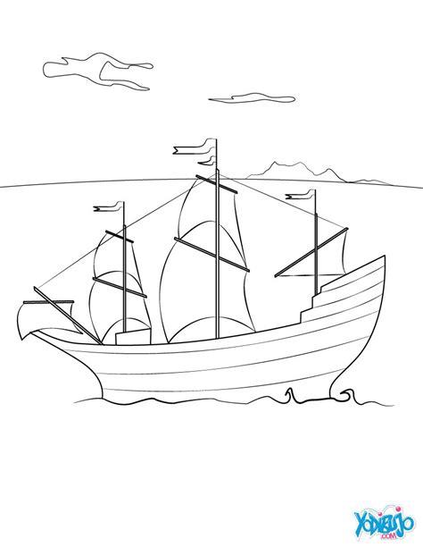 How To Draw A Pilgrim Boat by Dibujos Para Colorear Barco El Mayflower Es Hellokids