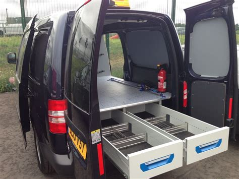 vw caddy maxi sortimo racking with xl drawer system false floor sortimo l boxxes against