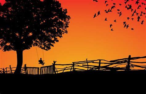 photo sunset dawn sun tree silhouette sky nature