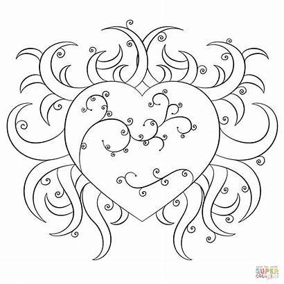 Coloring Fancy Heart Pages Drawing Printable Styles