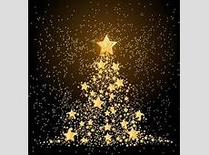 Golden stars with christmas tree vector material Vector