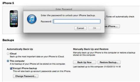 enter the password to unlock your iphone backup how to iphone 5 4s 4 backup password