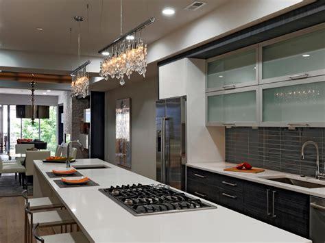 modern kitchen  long island  crystal track lights
