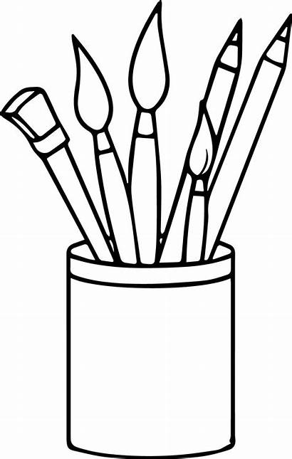 Paint Coloring Supplies Brushes Pencils Pages Painting
