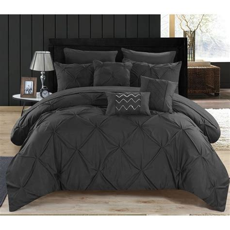 black pintuck comforter valentina black pintuck microfiber 10 bed in a bag