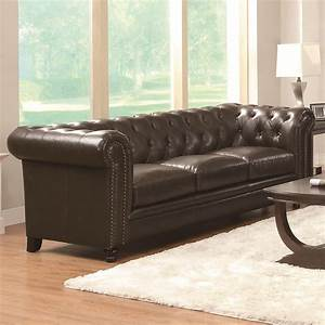 Buy roy traditional button tufted sofa with rolled back for Roy button tufted sectional sofa with armless chair