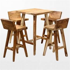 Salon De Jardin Table Haute : ensemble ethnique chic de mange debout et tabourets en bois ~ Teatrodelosmanantiales.com Idées de Décoration