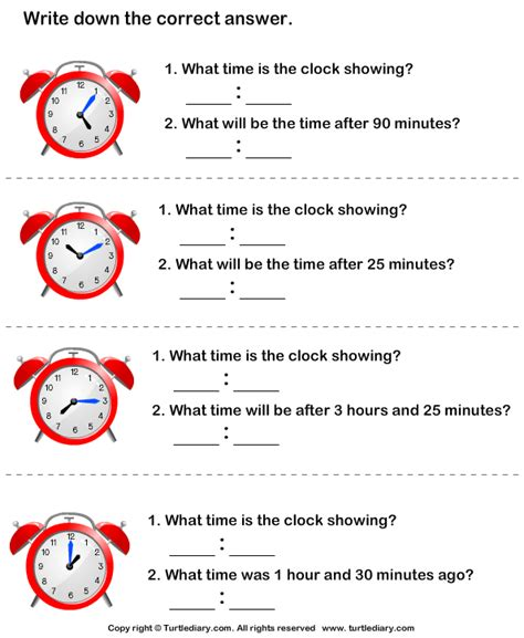 read clock and find time difference worksheet turtle diary