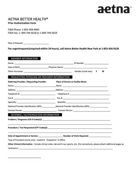 aetna prior authorization form printable