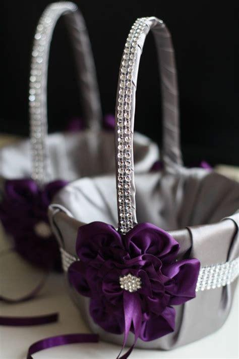 gray  plum wedding flower girl baskets egg plant