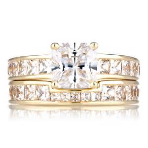 cubic zirconia wedding sets gold cubic zirconia princess cut wedding ring set
