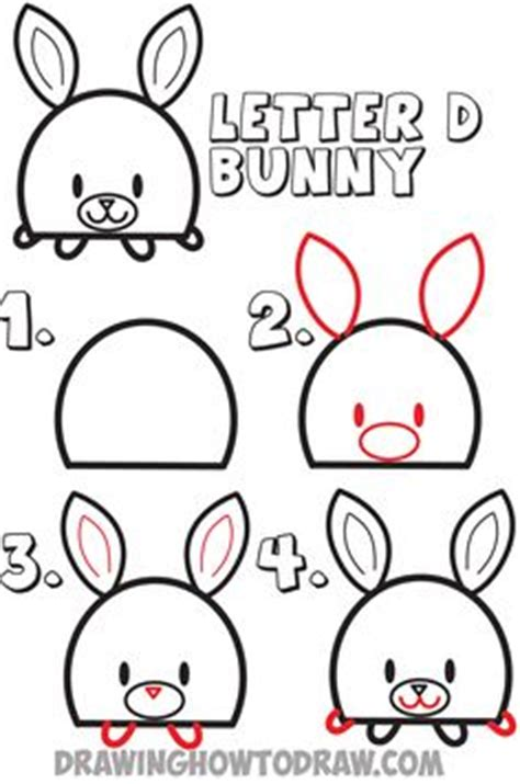 easy  draw letter  shaped bunny rabbits drawing