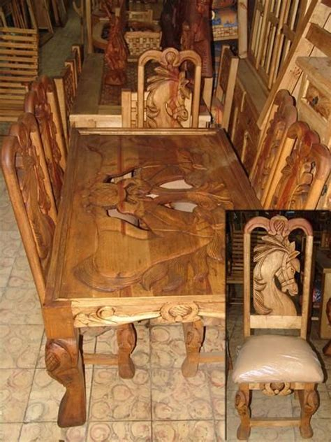 horse design carved dining table westernrustic