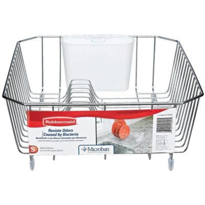 dish drainer small rubbermaid small chrome antimicrobial dish drainer fg6008archrom the home depot