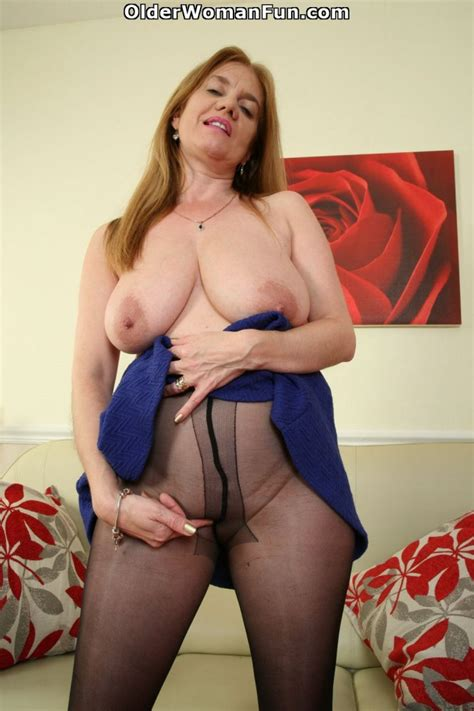 46 year old british milf lily tears up her nylon pantyhose