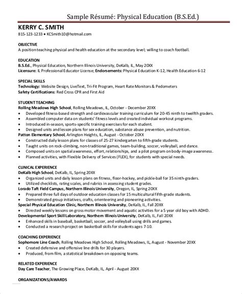 Physical Education Resume Exle by Education Resume Template 9 Free Sle Exle