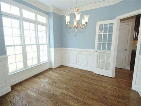 bedroom crown molding white wainscoting with blue walls